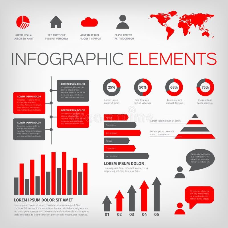红色和灰色颜色infographics 皇族释放例证