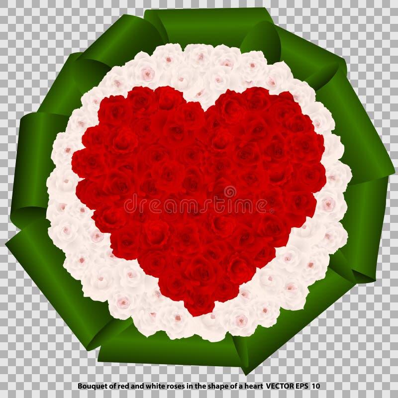 红色和白玫瑰花束以心脏的形式,隔绝,在透明背景 向量例证