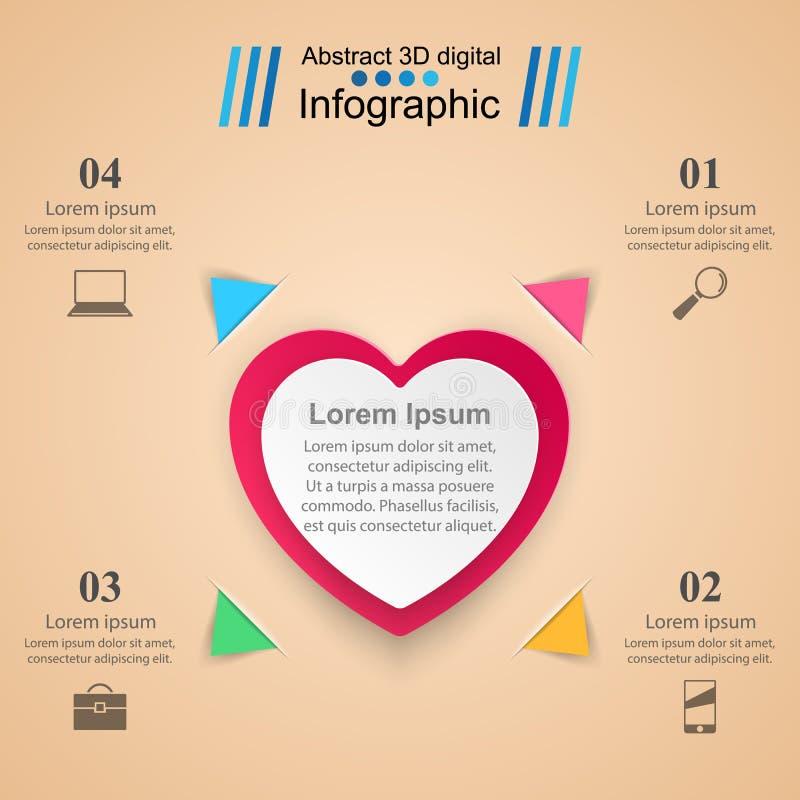红色和白皮书心脏情人节 抽象3D数字式例证Infographic 库存例证