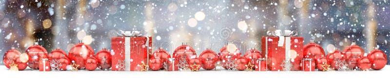 红色和白色圣诞节中看不中用的物品排队了3D翻译 库存例证