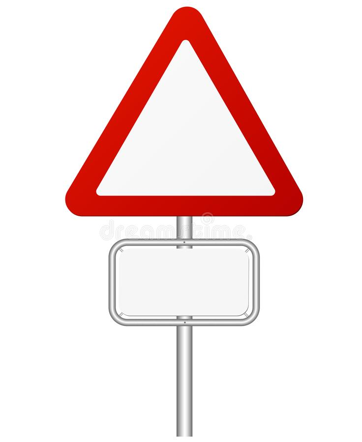 红色和白色在杆的交通警报信号 皇族释放例证