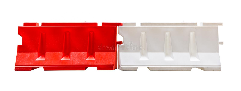 红色和白色塑料障碍阻拦 免版税库存照片