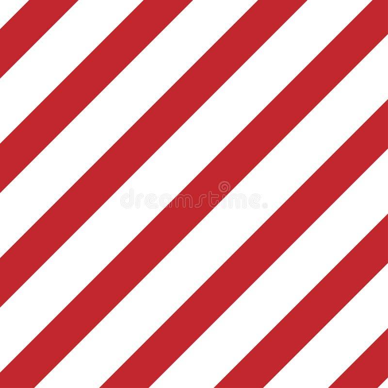 红色和白色对角条纹小心板材 向量例证