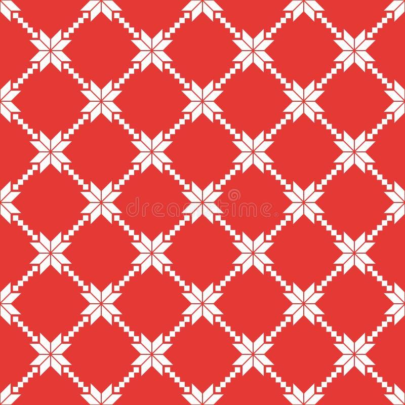 红色和白色挪威传染媒介无缝的样式 库存例证