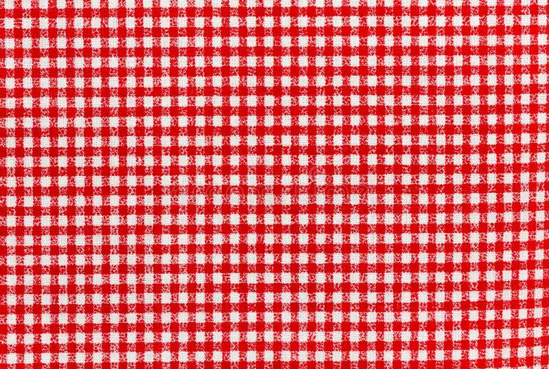 红色和白色方格的桌布横幅 免版税库存图片