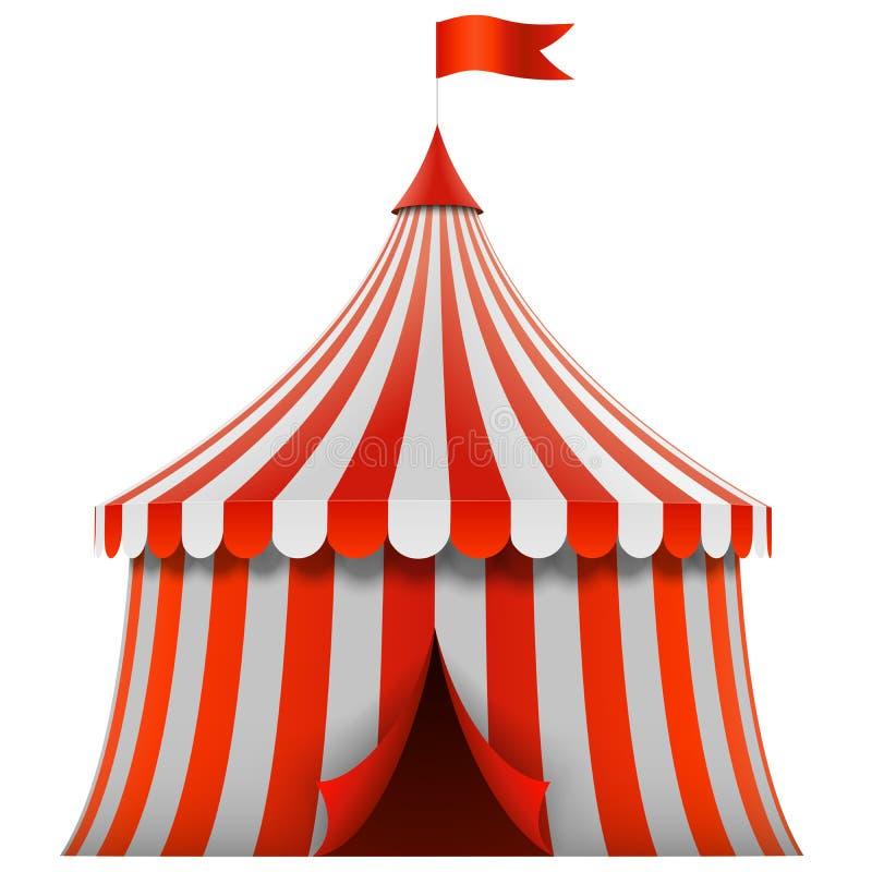 红色和白色镶边马戏场帐篷 向量例证