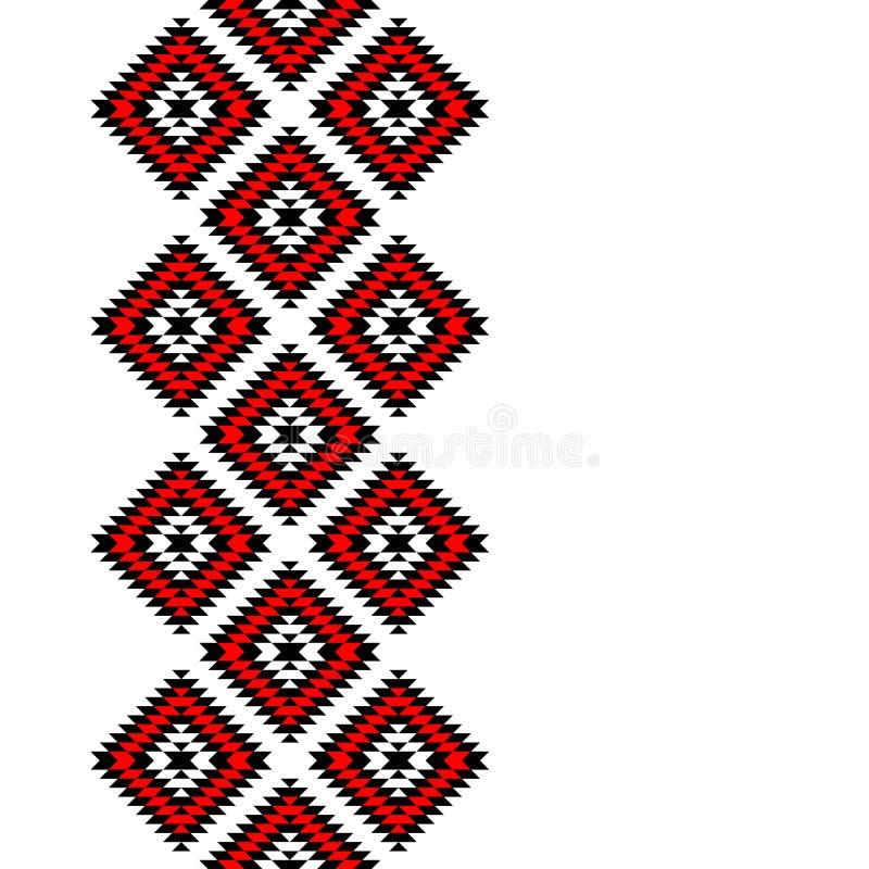 黑红色和白色阿兹台克装饰品几何种族无缝的边界,传染媒介 库存例证