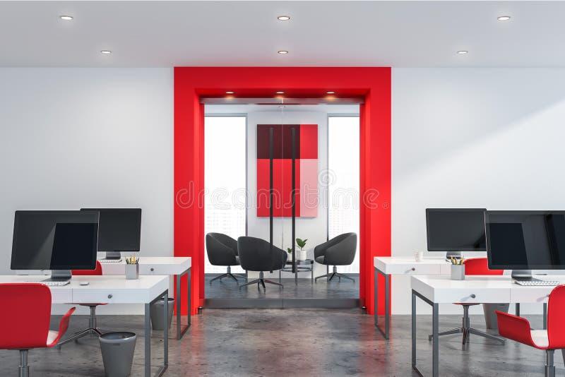 红色和白色露天场所办公室 皇族释放例证