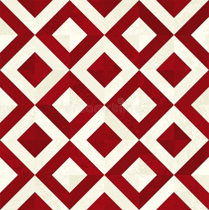 红色和米色的无缝磁贴背景 方形瓷砖 免版税库存照片