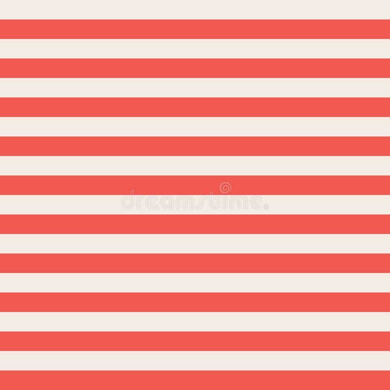 红色和米黄水平的条纹无缝的传染媒介背景 库存例证