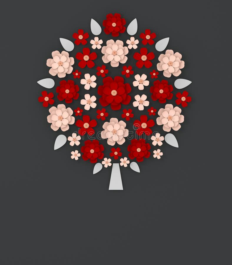 红色和米黄花花束裱糊艺术数字式3D例证 皇族释放例证