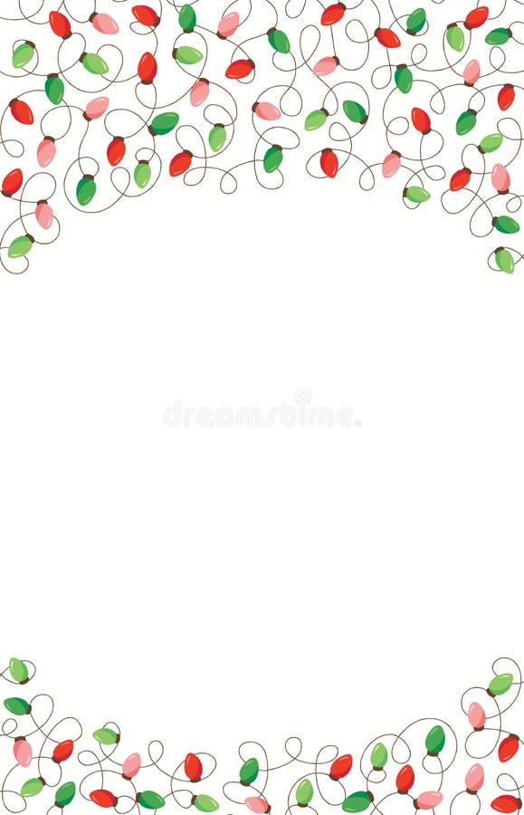 红色和绿色假日圣诞节和新年交错在白色背景上面和底下框架元素的串光 皇族释放例证