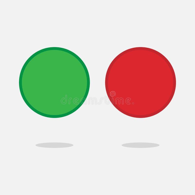 红色和绿色发光的3d按钮 与镀铬物框架的圆的玻璃网象 在白色背景隔绝的传染媒介3D例证 库存例证