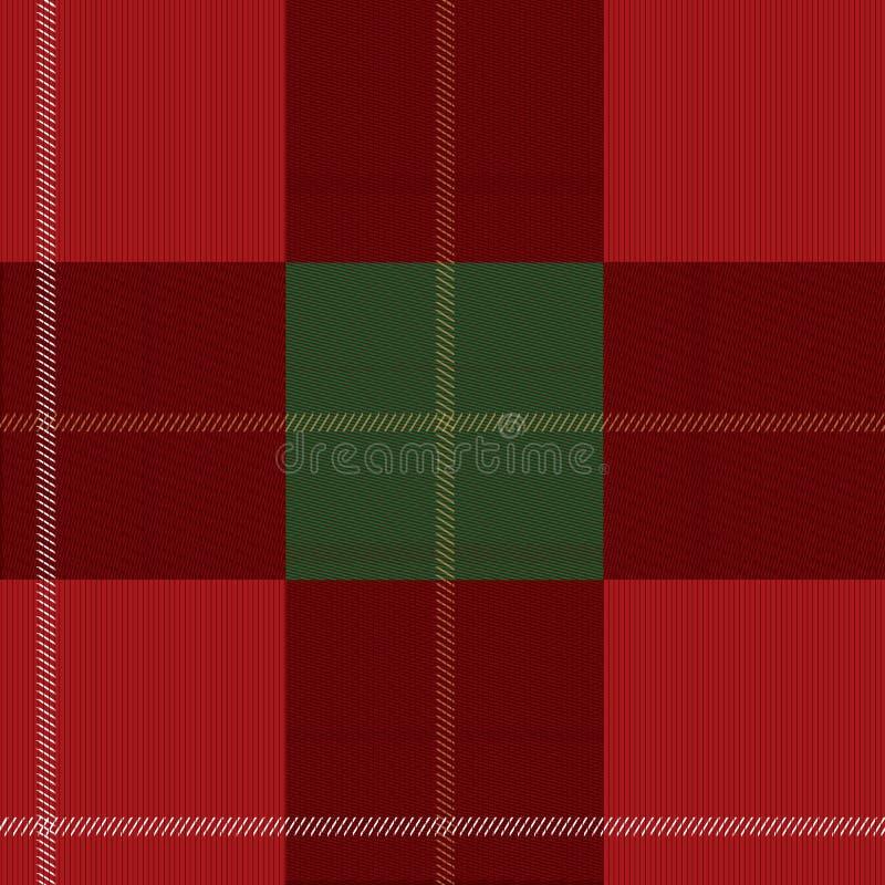 红色和绿色格子花苏格兰无缝的样式 库存例证