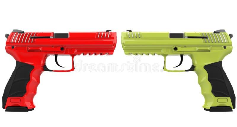 红色和绿色现代半自动手枪 向量例证