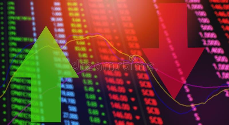 红色和绿色箭头证券交易市场分析/股票危机红色价格 向量例证