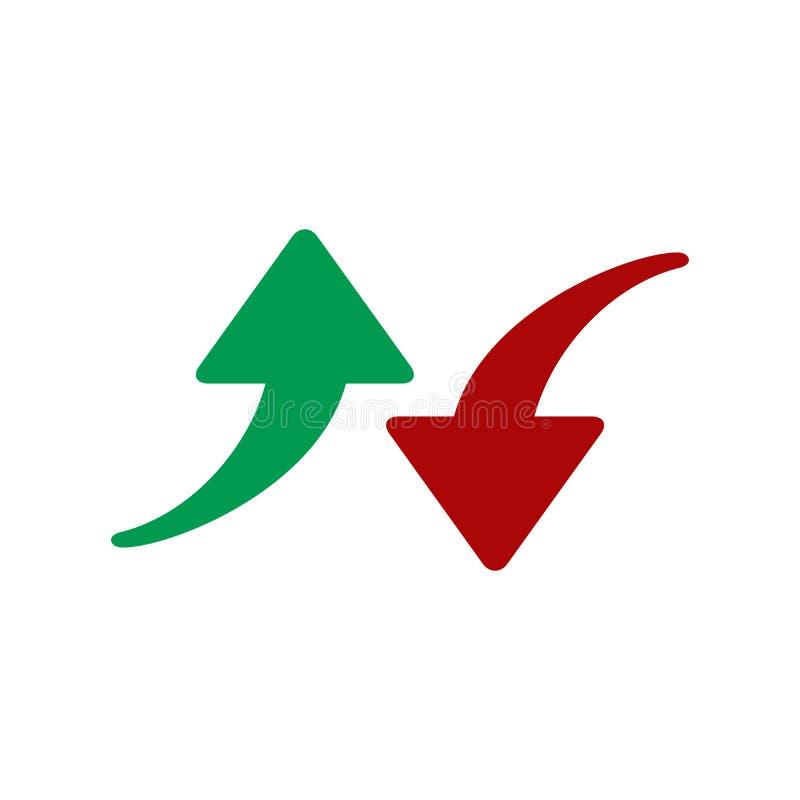 红色和绿色箭头象 在空白背景查出的向量例证 调高降低的标志 危机和成功 库存例证