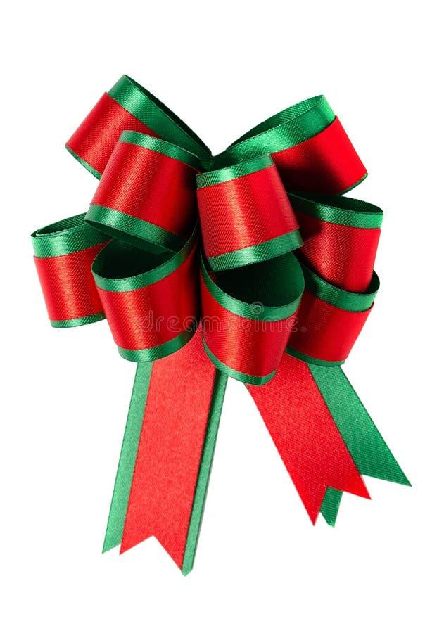 红色和绿色缎带弓 免版税库存图片