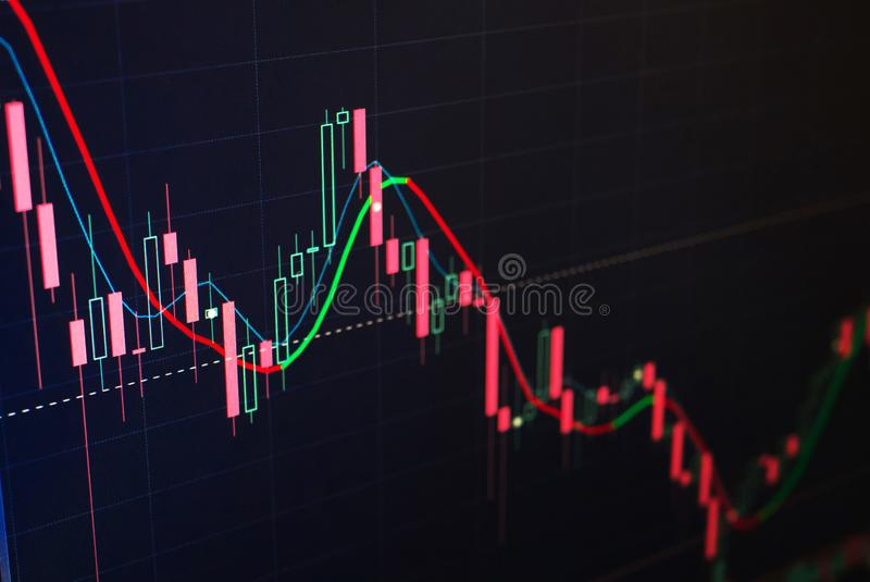 红色和绿色蜡烛证券交易所 贸易的概念 技术的分析 免版税库存照片