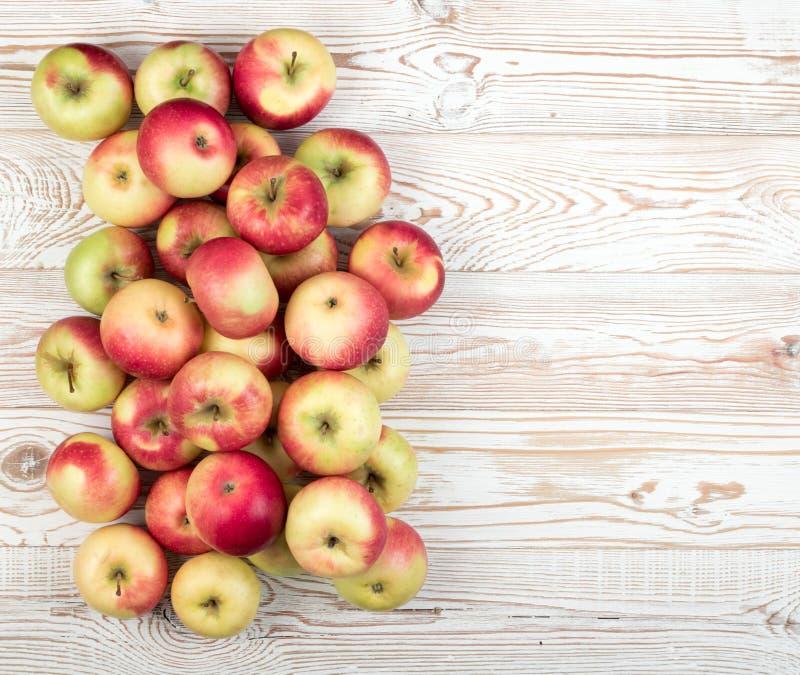 红色和绿色软的苹果为汁液产物准备 库存图片