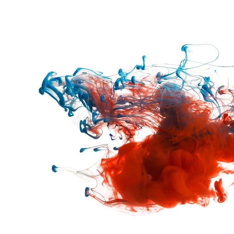 红色和蓝墨水 图库摄影