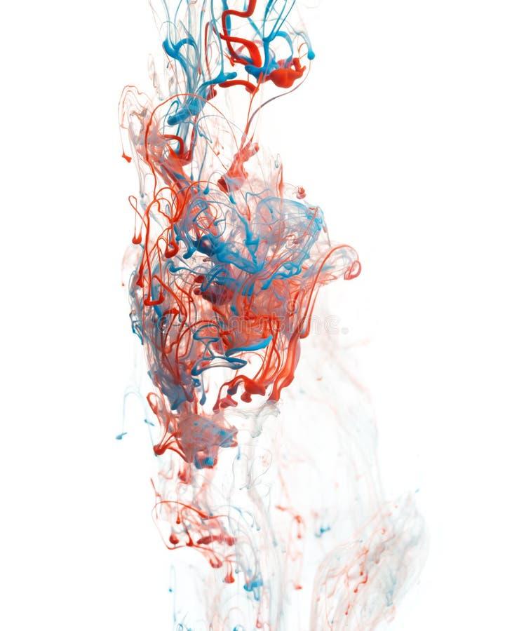 红色和蓝墨水 免版税库存照片