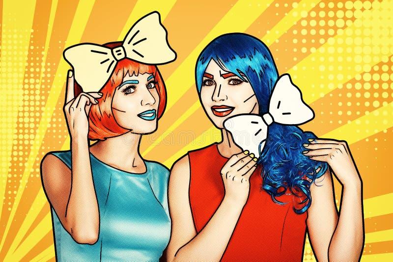 红色和蓝色假发的女性 有黄色弓领带的女孩在手上 向量例证