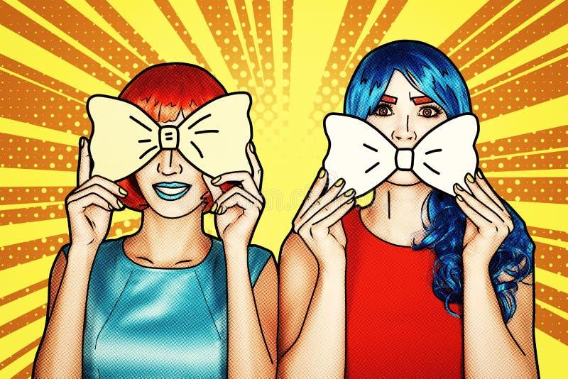 红色和蓝色假发的女性 有黄色弓领带的女孩在手上 库存例证