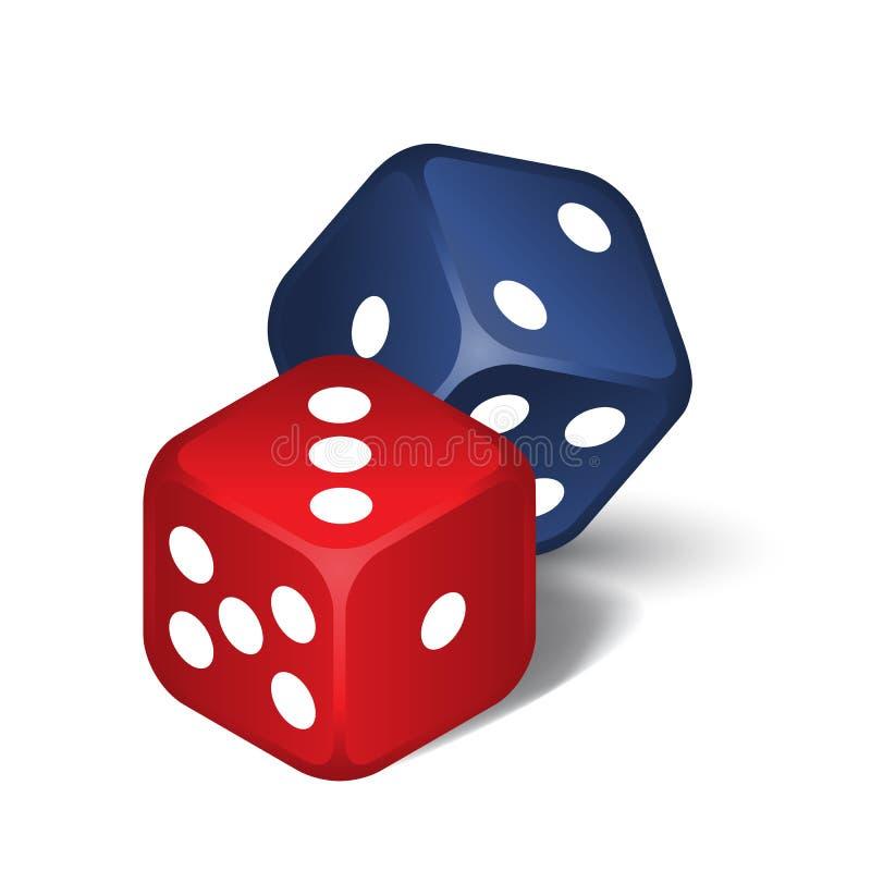 红色和蓝色切成小方块 皇族释放例证