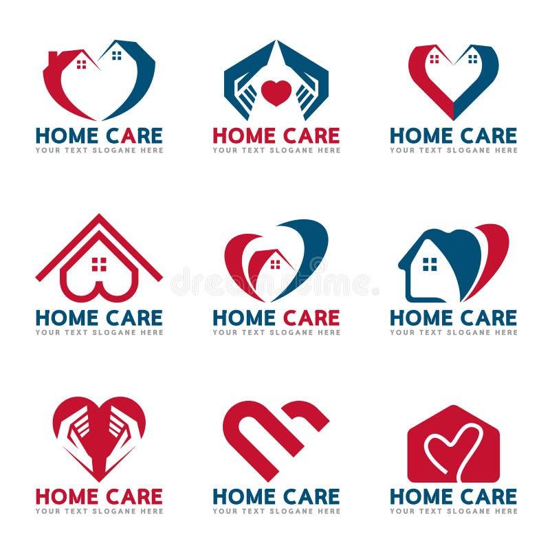 红色和蓝色家庭心脏和关心商标传染媒介布景 向量例证