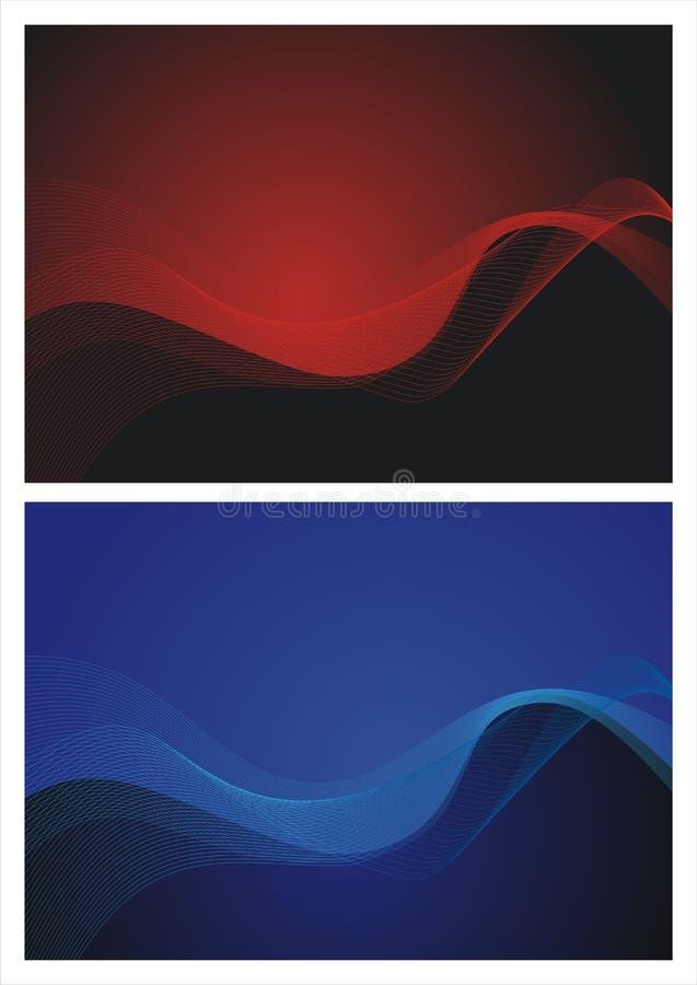红色和蓝色抽象波浪背景 图库摄影