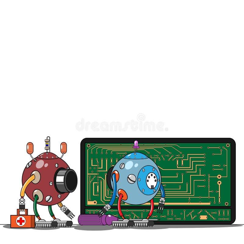 红色和蓝色机器人在电话到达了 向量例证