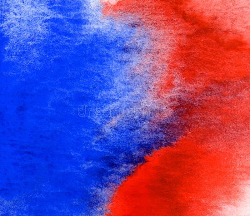 红色和蓝色水彩纹理 库存图片