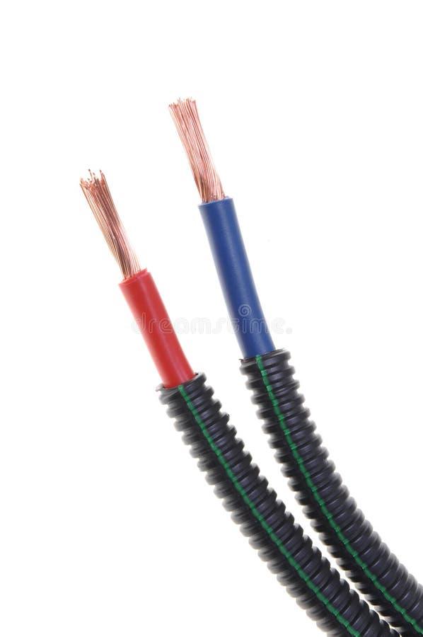 红色和蓝色电源铜丝 库存图片