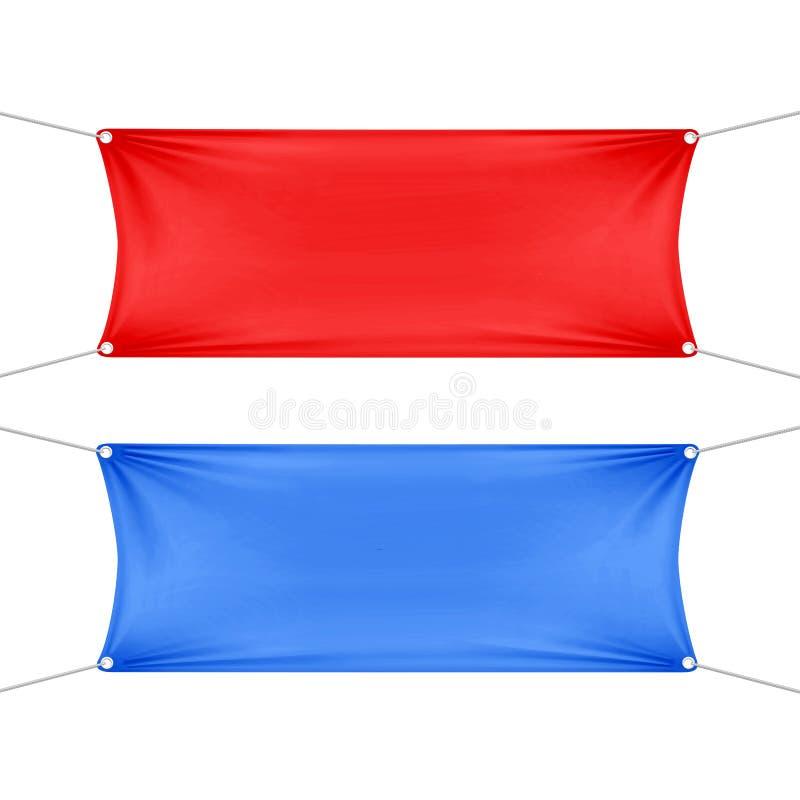 红色和蓝色空白的空的水平的横幅 库存例证