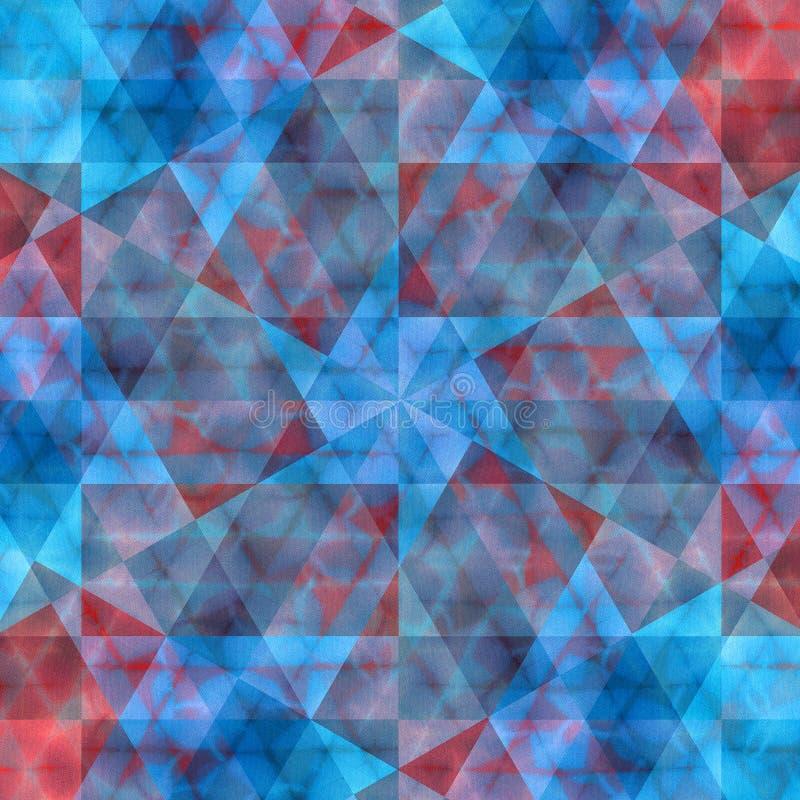 红色和蓝色被弄脏的水晶kaleidoskope几何无缝的样式 向量例证