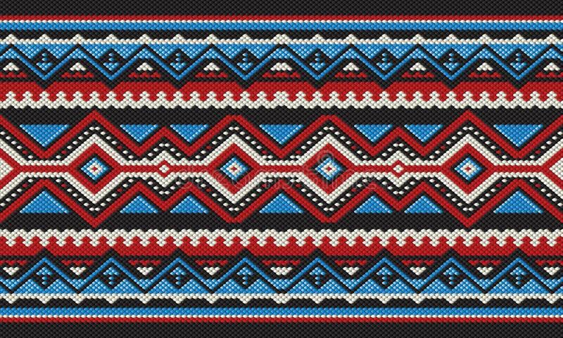 红色和蓝色详细的传统伙计Sadu阿拉伯手编织 向量例证