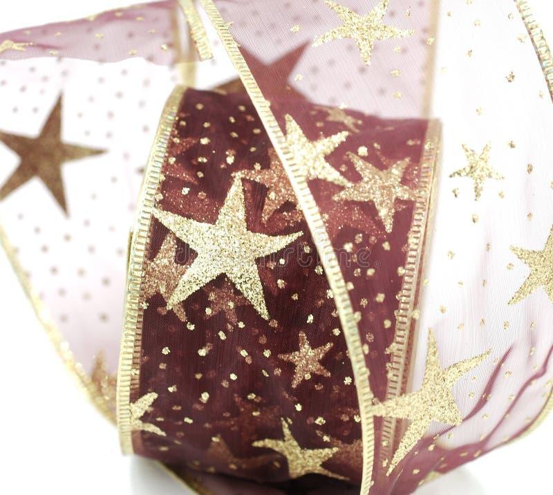 红色和金子圣诞节丝带 库存照片