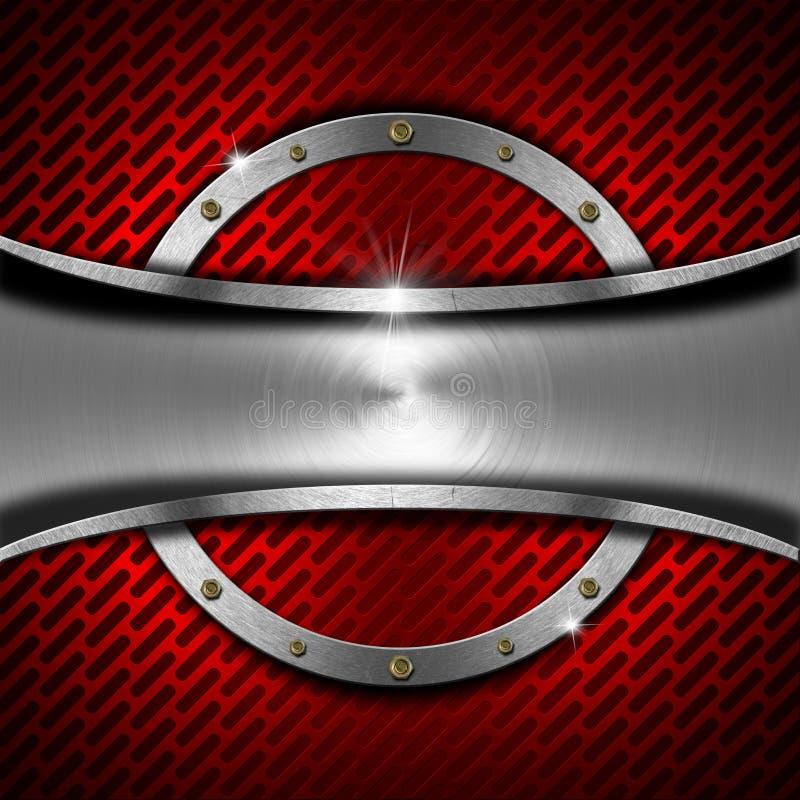 红色和金属背景与金属框架 库存例证
