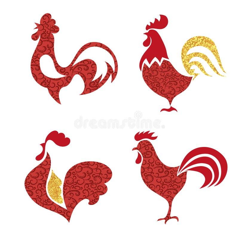 红色和金黄雄鸡商标集合 库存例证