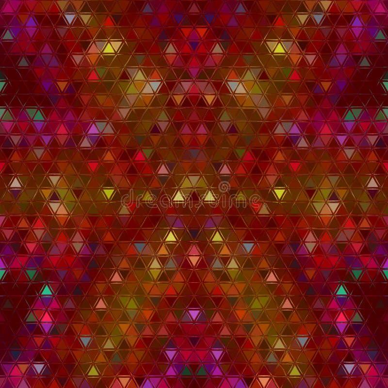 红色和黄色夏天多角形抽象马赛克背景 库存例证