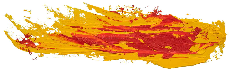 红色和黄色杂乱被察觉的油纹理画笔冲程 免版税库存照片