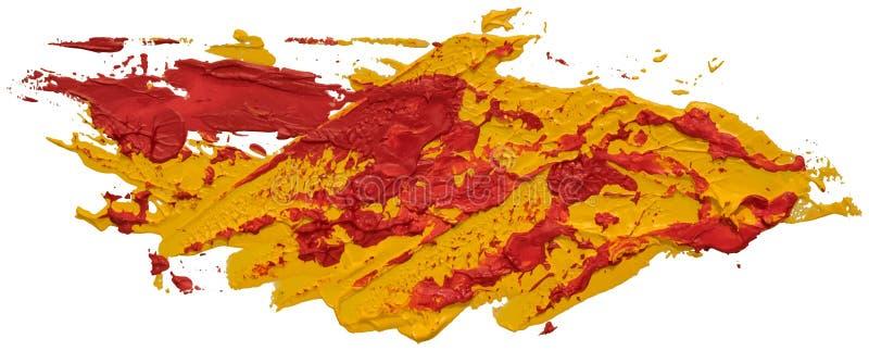 红色和黄色杂乱被察觉的油纹理画笔冲程 皇族释放例证