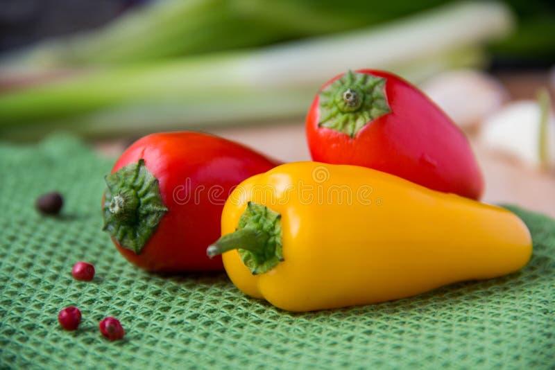 红色和黄色辣椒粉 库存图片