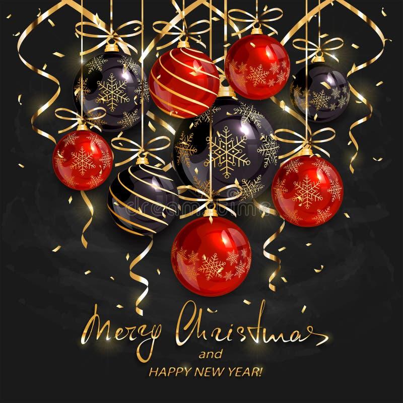 红色和黑圣诞节球和金黄飘带在黑chal 库存例证