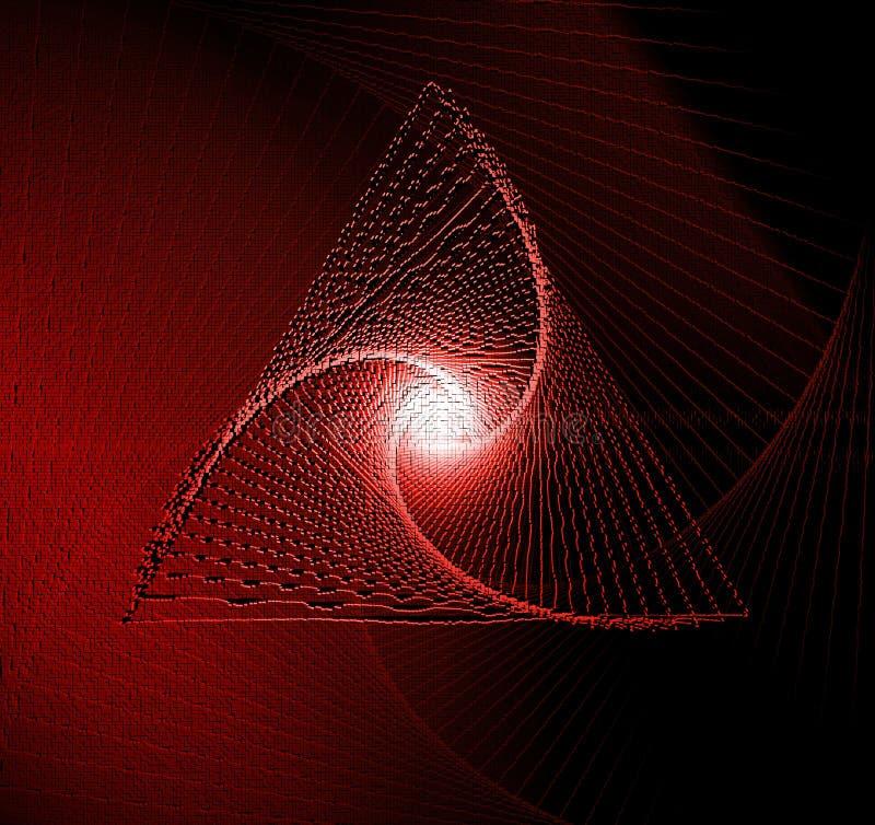红色和黑暗的漩涡3d立方体几何背景,3D在立方体映象点马赛克技术的翻译 库存例证