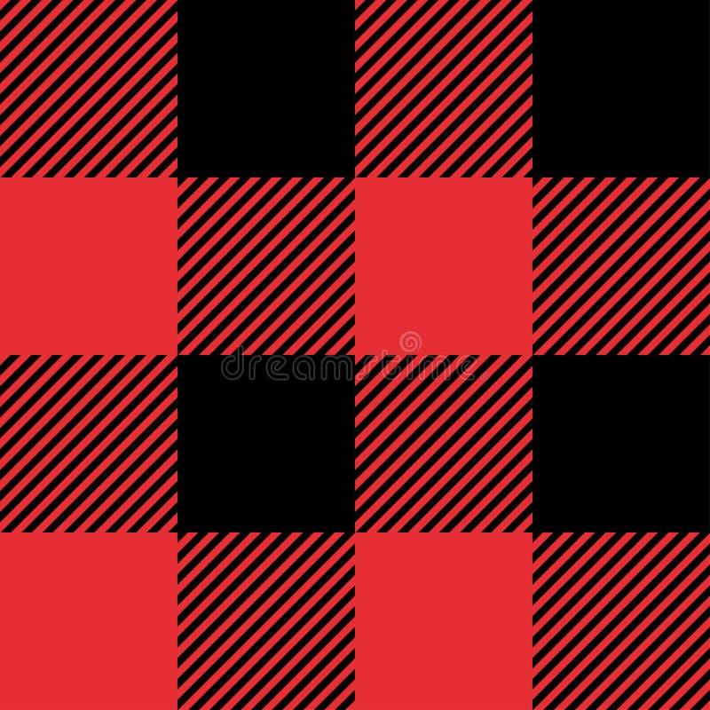 红色和黑格子花无缝的抽象方格的样式背景 向量例证