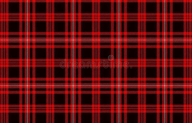 红色和黑格子花苏格兰无缝的样式背景 抽象背景设计例证马赛克 库存例证