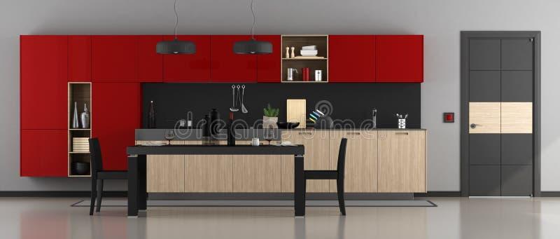 红色和黑现代厨房 向量例证