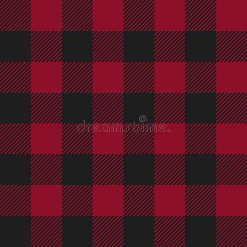 红色和黑色美洲野牛检查格子花呢披肩无缝的样式 库存例证